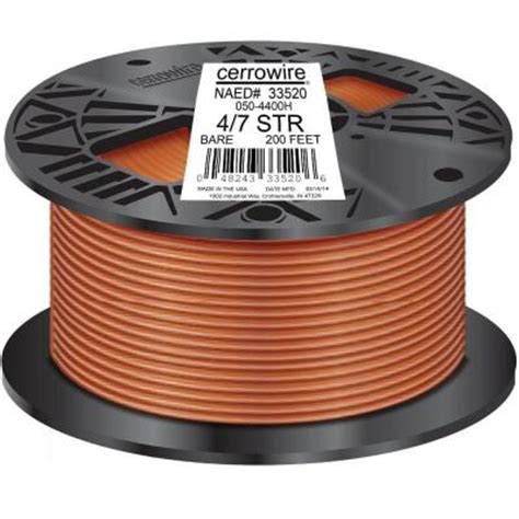 Copper Wire Home Depot by Cerrowire 200 Ft 4 1 Stranded Bare Copper Grounding Wire