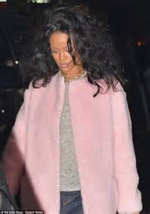 creature comforts ri rihanna bundles up in cosy pink fuzzy jacket for dinner at