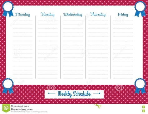 cute weekly planner pink dots stock vector image 75890519