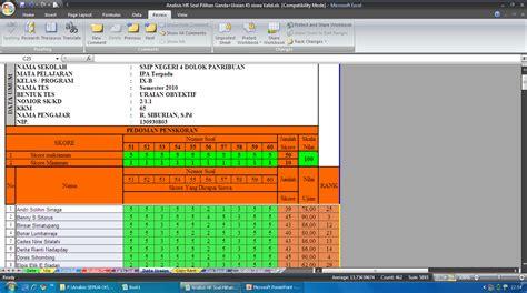 contoh format analisis butir soal pilihan ganda aplikasi koreksi soal pilihan ganda dan uraian contoh format