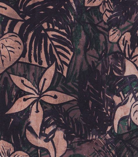 tropical fabric black neutral floral home decor fabric
