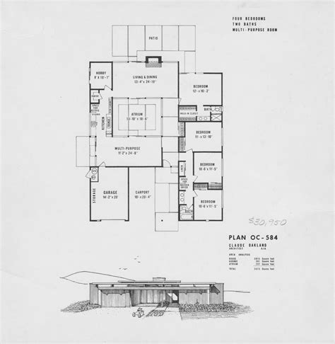 joseph eichler home plans atrium house plans on pinterest floor plans atrium
