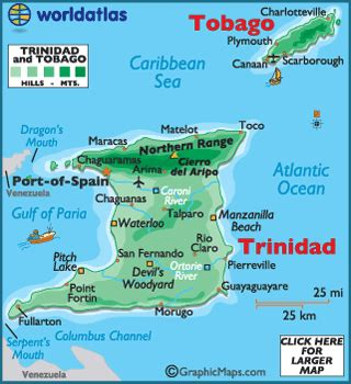 trinidad and tobago map / geography of trinidad and tobago