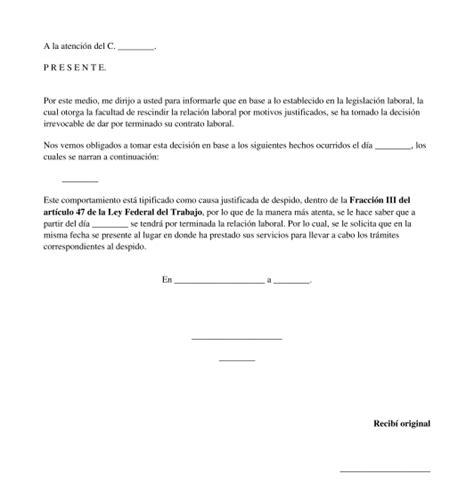 ejemplo carta de despido laboral carta de despido justificado modelo word y pdf