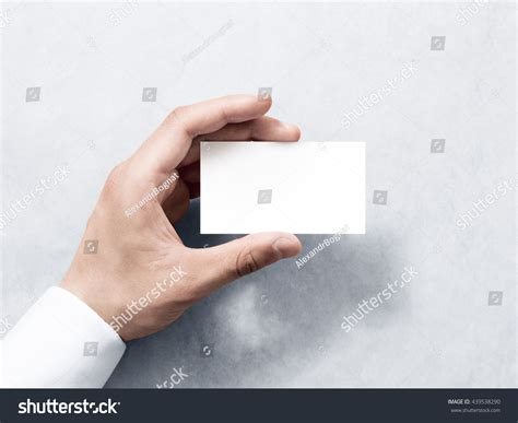 holding business card template hold blank plain white business stock photo 439538290