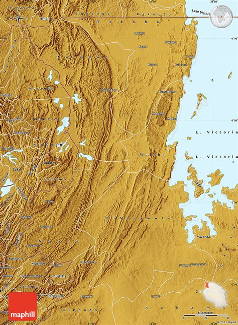 physical map of tanzania physical map of kagera