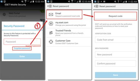 reset android number reset my security password for eset mobile security for