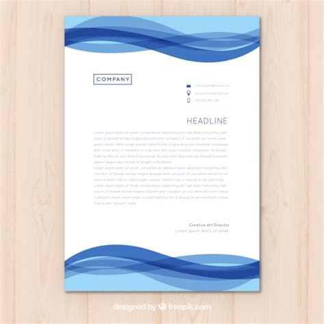 plantilla business letterhead with blue waves plantilla de membrete con ondas azules descargar