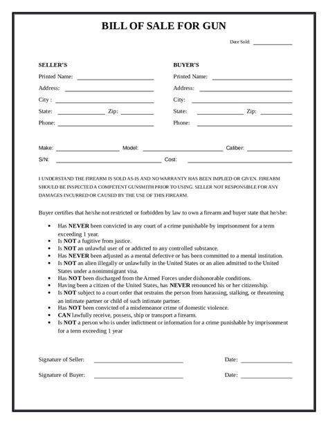 Bill New Firearm Bill Of Sale Form Firearm Bill Of Sale Form Bill Of Sale Form Nc Template