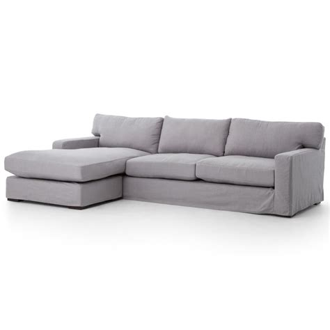 linen sofa sectional elle modern classic pewter grey linen sectional sofa