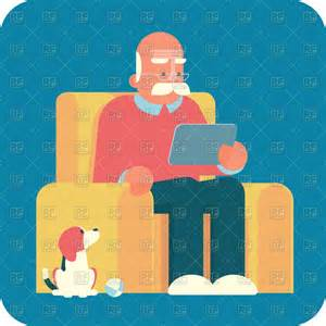 in armchair sitting in armchair and using a tablet