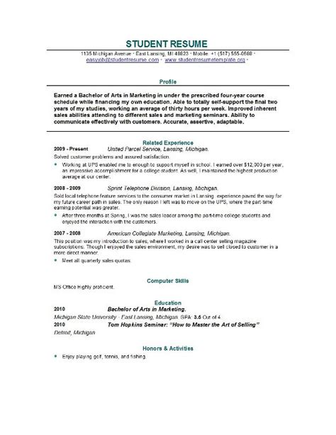 Students Resume Sample – Sample Student Resume   How To Write Stuff.org