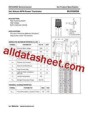 transistor company bu2520dx datasheet pdf inchange semiconductor company limited