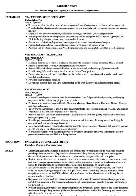 Hospital Staff Pharmacist Resume by Staff Pharmacist Resume Sles Velvet