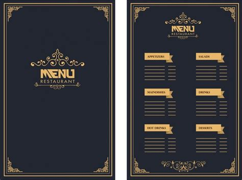 menu card template photoshop restaurant menu design royal style on background free
