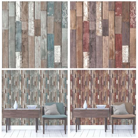 fine decor rustic effect wood planks wallpaper blue
