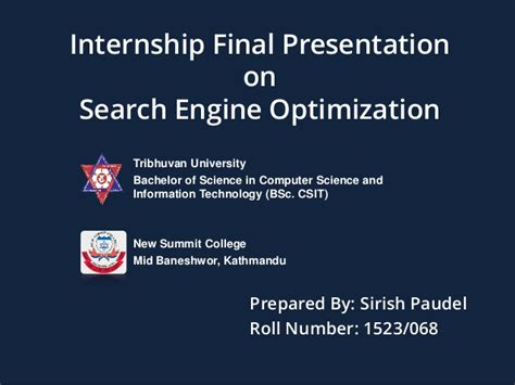 Bsc Csit Final Year Internship Ppt Presentation On Seo Internship Presentation Template