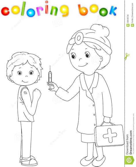 coloring book vector doctor makes vaccination to the patient coloring book for
