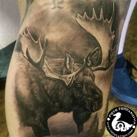 black and gray moose custom tattoos