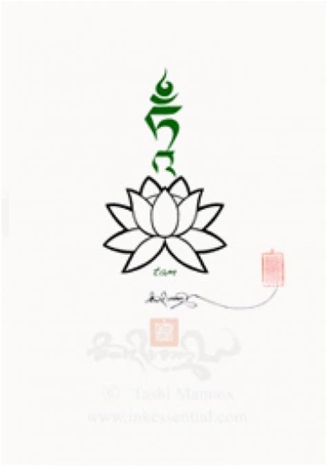 green tara seed syllable tam on lotus uchen script