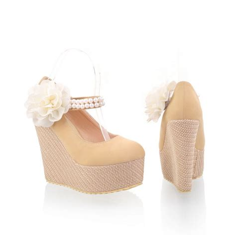 Sandal Selop Vogue Creme fashion casual toe closed wedges high heel ankle colored pu pumps pumps shoes