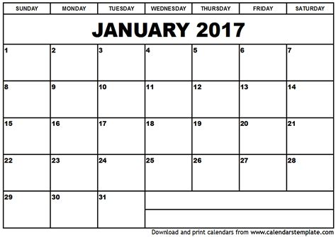 Printable January 2017 Calendar | january 2017 calendar template