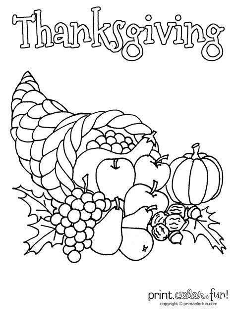 Free Coloring Pages Empty Cornucopia Coloring Page