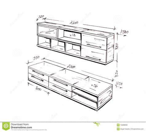 modern interior design freehand drawing stock