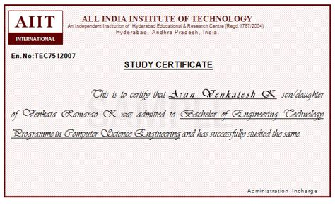 Study Certificate Sample With Periods   Joy Studio Design