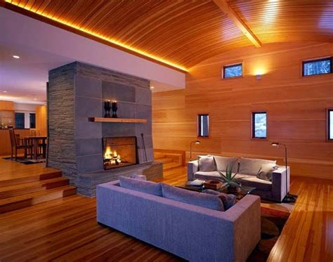 pass through fireplace to sunken room home