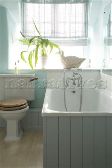 country bathroom with tongue and groove panelling ac059 23 a traditional country bathroom in blue b