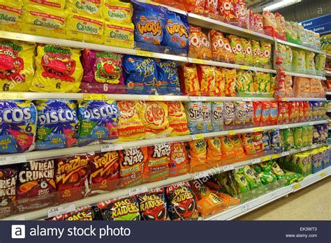 Snack Stor crisps and salted snacks in a uk supermarket stock photo