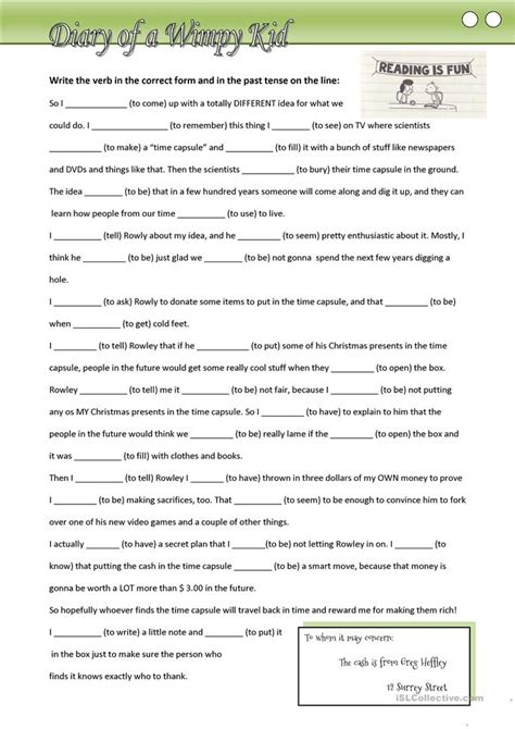 printable diary extracts diary of a wimpy kid fill in missing verbs in the past