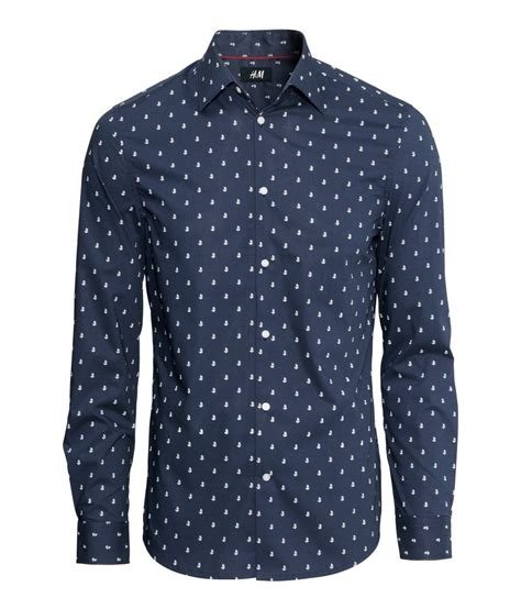 anchor pattern button up slim fit dark blue button down shirt with white anchor