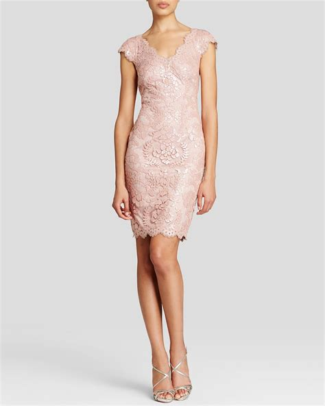 Aidan Kaos Pink tadashi shoji dress v neck cap sleeve sequin lace in