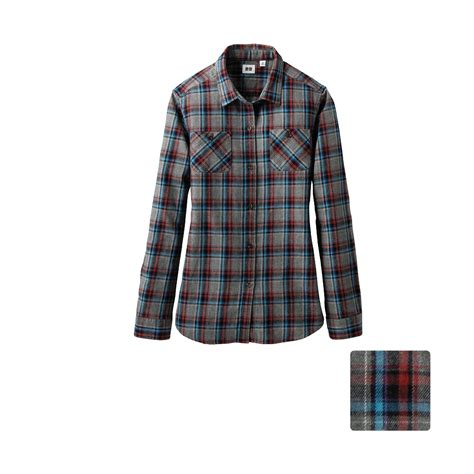 Flannel Uniqlo 11 uniqlo flannel check pocket sleeve shirt d in lyst