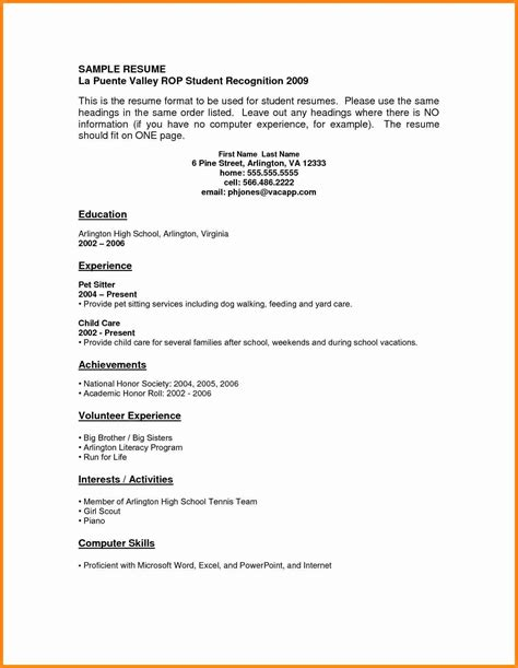 Resume For High School Students With No Experience Sles by 6 Student Resumes With No Experience Model Resumed