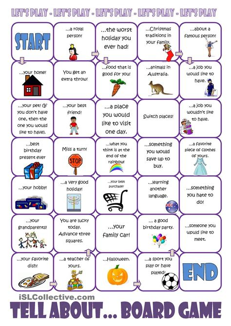 printable games english language learners tell about board game speaking pinterest board