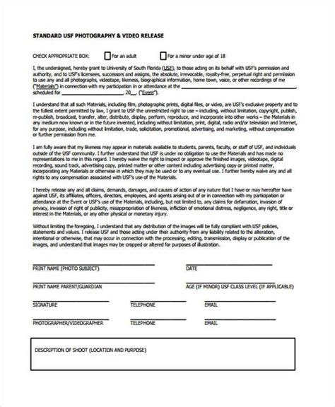 release form template release form templates
