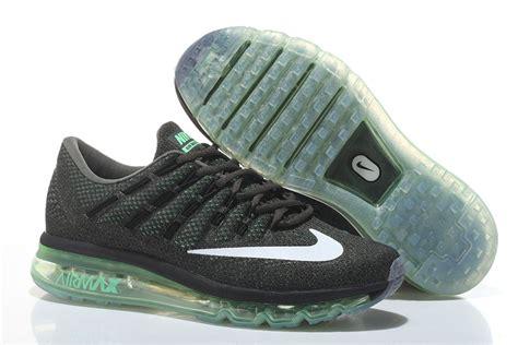 mens nike air max 2016 running shoes black green white