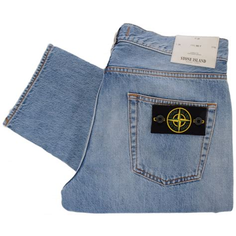 light stone washed denim jeans stone island regular tapered denim jeans