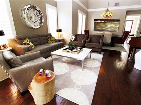 grey brown white living room contemporary living room in gray and eggplant tones hgtv