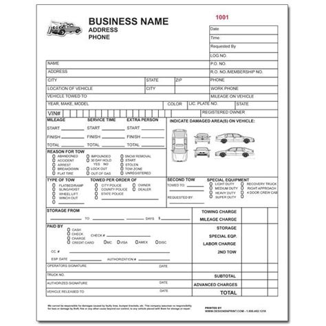 Towing Receipt Template by Towing Invoice Template Blank Towing Invoice Template Free
