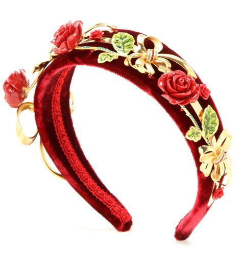 Velvet Hair Band lyst dolce gabbana embellished velvet hairband in metallic