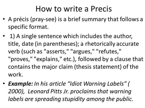 how to write a rhetorical precis template precis formats