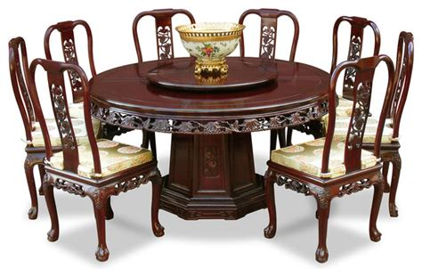 Dining Table China China Furniture And Arts 60 Quot Rosewood Grape Motif Dining Table With 8 Chairs