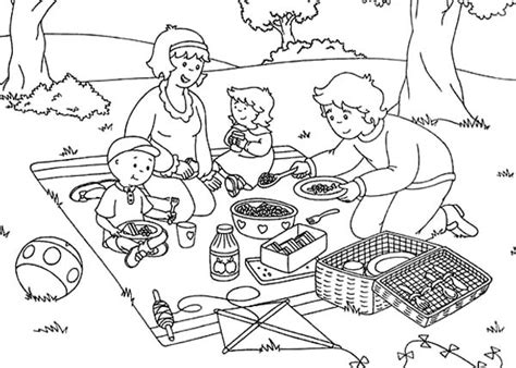 family on a picnic coloring pages