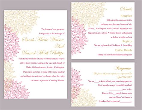 diy pink and gold wedding invitations diy wedding invitation template set editable word file