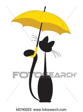 Gatto Clipart by Clipart Gatto In Ombrello K6740223 Cerca Clipart