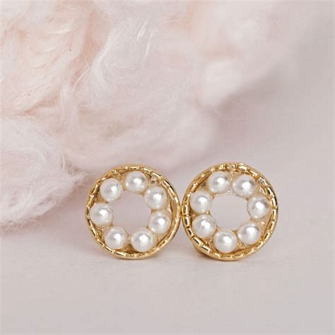 Bead Stud Earring pearl bead stud earrings tiny white bead circle pave ear